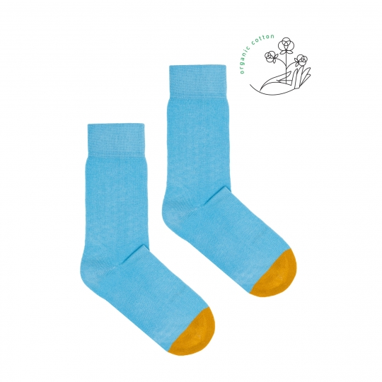 Babyblue Socks with Yellow Tip