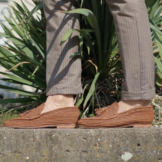 Raffia Schuhe l braun