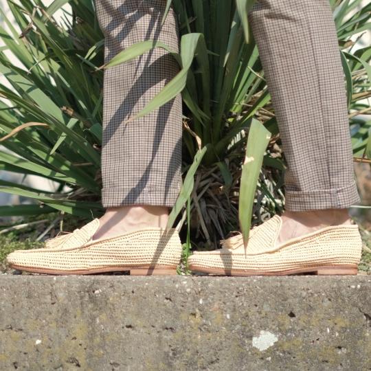 Raffia Schuhe l beige